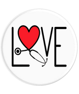 Love with Stethoscope and Heart - Nurse, Doctor, Vet, - PopSockets Grip ... - $15.00