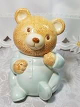 Vintage Bedtime in Pajamas Teddy Bear Bank Figurine Hand Painted Ceramic
