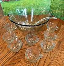 Vintage Anchor Hocking 18 Pc Savannah Clear Glass Floral Punch Bowl Glas... - $24.18
