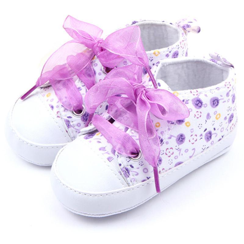 0-12M Baby Kids Girls Crib Shoes Toddler Soft Sole Sneakers Bow Boots