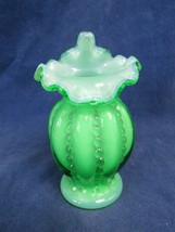 Vintage Fenton Green Cased Glass Jack In The Pulpit Beaded Melon Vase 4 ... - $29.70
