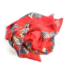 "Vera Neumann Scarf Floral Red Blue Brown Gray Square 34"" Fringed Semi-Sheer - $24.74"