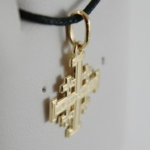 SOLID 18K YELLOW GOLD FLAT JERUSALEM CROSS, SMOOTH AND SATIN, MADE IN ITALY image 2