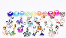 15 Assorted  charms Bracelet Necklace Crystal Glass Beads Set - $10.29