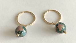 Vintage GF JWK Signed Gold Filled Hoop Green Pink Blue Cloisonne Bead Ea... - $24.74