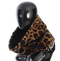 Dolce & Gabbana Black Fur Leopard Print Scarf - $1,368.87