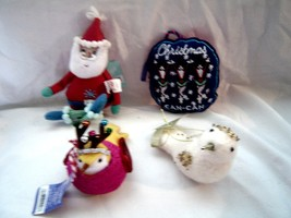 Set of 4 Felt Christmas Ornaments 2 Birds,Can Can Christmas,Santa NWT - $12.99
