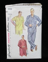 Pajamas 2 Pc & Shirt Sewing Pattern Size Medium Mens Vintage 4108 Simpli... - $5.93