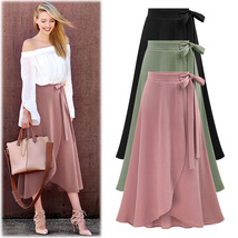 Women Asymmetrical Split Skirt High Waist Bow Party Midi A Line Skirt - $27.99