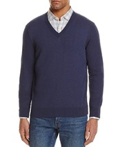 New $118 Bloomingdales Heather Navy Blue 100% Cotton V-NECK Sweater Size S - $14.84