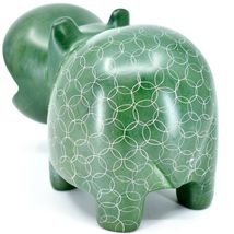 Vaneal Group Hand Carved Soapstone Large Heavy Green Hippopotamus Hippo Bookend image 4