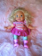 "Little Mommy Blonde Girl Doll 14"" Cloth Body Green Legs  Mattel 2011 - $9.85"