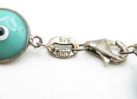 925 Sterling Silver - Vintage Turquoise Googly Eye Link Chain Bracelet - B6070 image 4