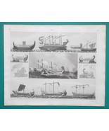 SHIPS Ancient Phoenicia Roman War Games Naumachia - 1844 Superb Print - $25.20
