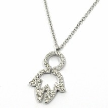 18K WHITE GOLD NECKLACE, BABY CHILD BOY SON PENDANT WITH DIAMONDS ROLO CHAIN image 2