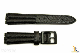 18mm Men's Padded Black Leather Replacement Band Strap fits SWATCH watches - $11.01
