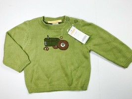 New Gymboree Toddler Boys 12 to 18 Months Farm Tractor Sweater Pullover Green - $14.98