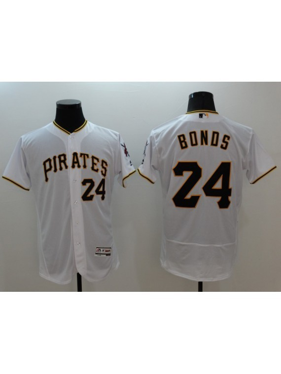 Men's Pittsburgh Pirates #24 Barry Bonds White Home Flex Base Jersey, used for sale  USA