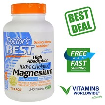 "Doctor""s Best, High Absorption Magnesium, Vegan, 100% Chelated, 240 Tablets - $40.00"