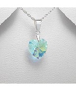 Aquamarine color crystal glass heart shaped pendant - $23.95