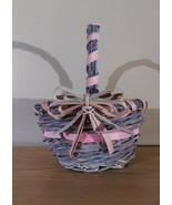 Pink Woven Gift Basket With Handle & Bow - $8.99