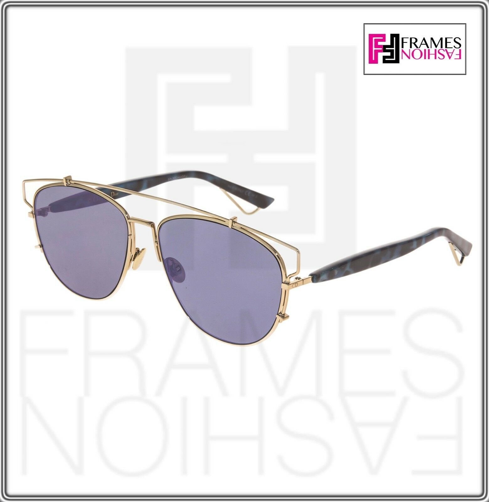 CHRISTIAN DIOR TECHNOLOGIC Gold Spotted Blue Lilac Flat Mirrored Sunglass Unisex