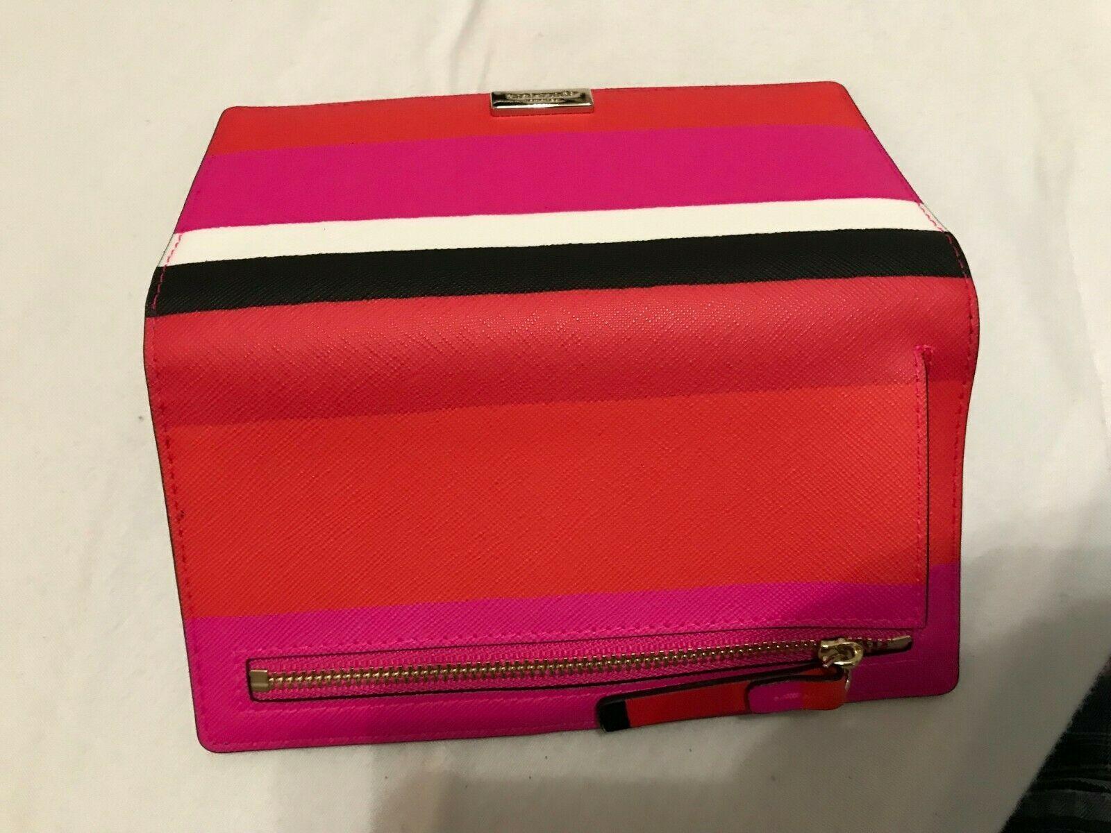 Kate Spade Stacy Laurel Way Bonita Stripe Crosshatch Leather Bifold Wallet $119