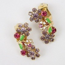 "Vtg WEISS EARRINGS-Clip -Enamel & Rhinestones-1.25""-Gold/Green/White/Pin... - $40.19"