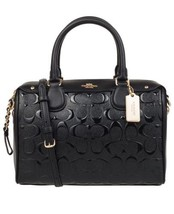 COACH F11920 SIGNATURE DEBOSSED PATENT LEATHER MINI BENNETT SATCHEL BLAC... - £156.67 GBP