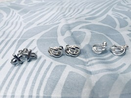 Napier & Nine West Vintage Silver Tone Clip On Earrings W/Screw Backs 3 ... - $25.20