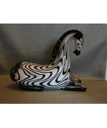 Tooarts Zebra Glass Ornament Animal Figurine Handblown Black & White  - $54.99