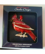 Regent Square Red Cardinal Christmas Ornament W/Fine European Crystal - $17.81