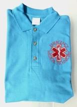 EMT Polo Shirt M Emergency Medical Technician Star of Life Light Blue Silver S/S - $26.16