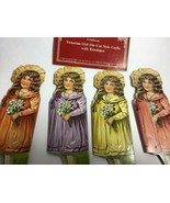 """1984 Victorian Girl Die-Cut Note Cards (4)  w/envelopes 5 7/8"""" tall - £6.90 GBP"""