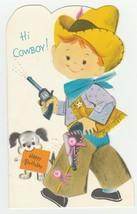 Vintage Birthday Card Boy in Cowboy Suit Dog Buzza Cardozo 1960's - $9.89