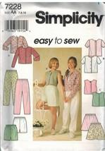 7228 UNCUT Simplicity SEWING Pattern Girls Knit Top Skirt Pants Shorts - $6.30