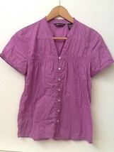 Eddie Bauer Blouse Striped Light Purple 100% Cotton Short Sleeve Button-up PS - $12.95