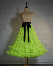 Fluorescent Green Layered Tulle Skirt Ballet Tutu Skirt Plus Size A-Line Layered image 1