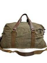 J Crew Abington Weekender Duffle Bag Waxed Cotton Leather Trim