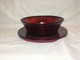 Ruby Red Dimpled Arcoroc France Bowl With Salad Plate Set Of 4 ALWT004 - $47.30