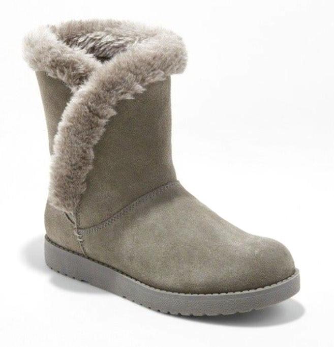 Universal Thread Women's Daniah Gray Genuine Suede Faux Fur Winter Snow Boots