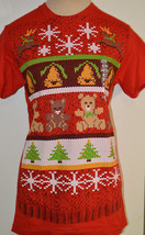 Delta Pro Snowflakes Bells Teddy Bears Red Short Sleeve Christmas T-Shir... - $9.99