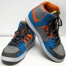 Dc Spark Men's (12) Genuine BLUE/ORANGE Leather High Rise Skateboard Sneakers - $50.65