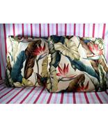 Vintage 2pc Hawaiian Tropical Barkcloth Graphic 18 x 18 Pillows Bird of Paradise - $68.00
