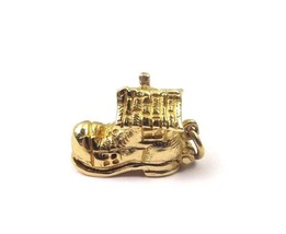 14k Yellow Gold Vintage Shoe House Charm That Opens - $201.03