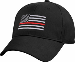 Black Thin Red Line US Flag Support the Firefighters Low Profile Basebal... - $9.99