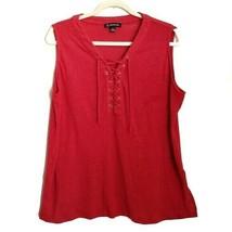 INC International Concepts Linen Sleeveless Tie Top Womens 2X Red Tank Top - $12.99
