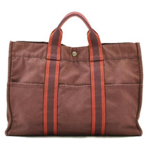 HERMES Canvas Fourre Tout MM Hand Bag Red Auth 8947 - $110.00