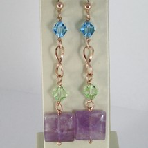 925 STERLING ROSE SILVER PENDANT LONG EARRINGS WITH BIG SQUARE AMETHYST image 1
