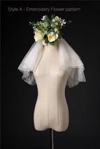 Ivory Shoulder Length Wedding Bridal Veils Layer Floral Lace Tulle Bridal Veils  image 12